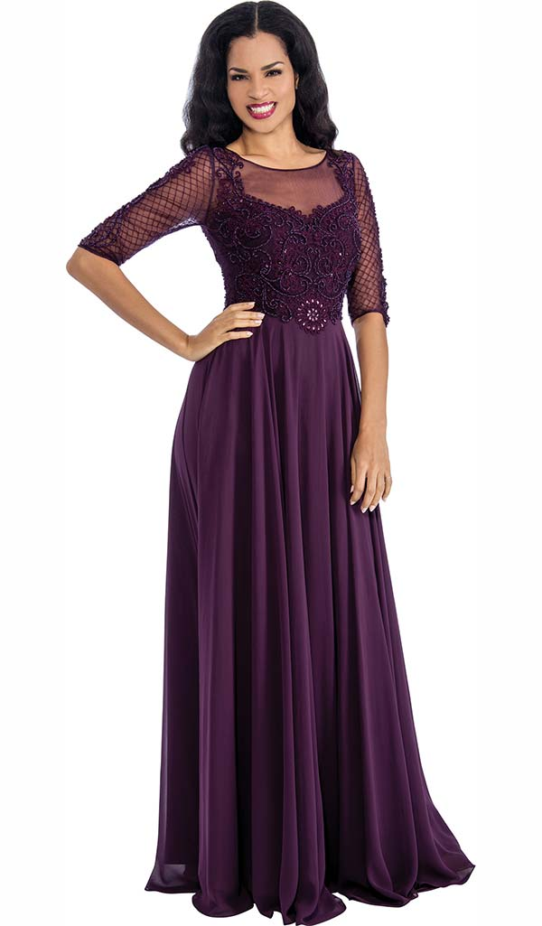 Annabelle 8649-Grape - Pleated Dress With Illusion Neckline & Lace Design Bodice
