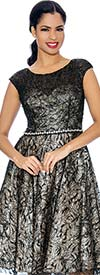 Annabelle 8662-Black Cap Sleeve Pleated Dress With Lace Design
