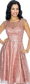 Annabelle 8662-Mauve Cap Sleeve Pleated Dress With Lace Design