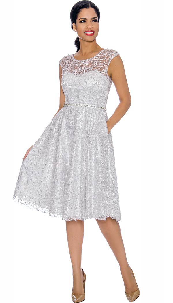 Annabelle 8662-White Cap Sleeve Pleated Dress With Lace Design