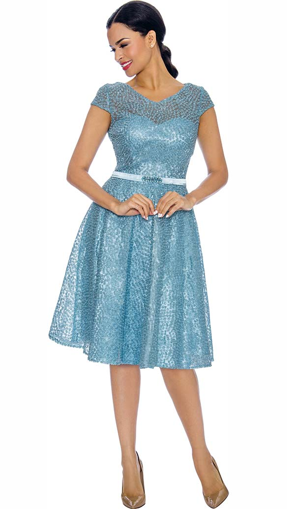 Annabelle 8669-Blue Cap Sleeve Bell Dress With Vee Neckline