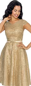 Annabelle 8669-Gold Cap Sleeve Bell Dress With Vee Neckline