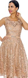 Annabelle 8674-Gold - Sleeveless Lace Dress