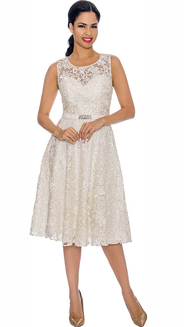 Annabelle 8674-Off White - Sleeveless Lace Dress
