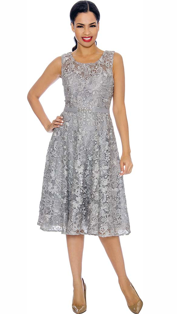 Annabelle 8674-Silver - Sleeveless Lace Dress