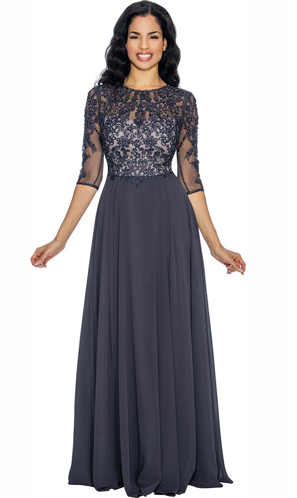Annabelle 8680 Pleated Floor Length Dress With Lacy Design Bodice