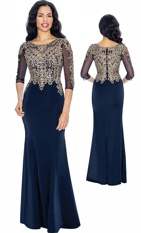 Annabelle 8682 Boat-Neck Floor Length Dress With Elaborate Bodice