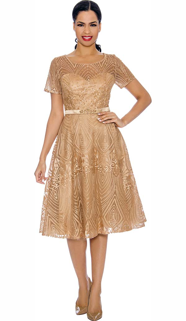 Annabelle 8690-Gold - Short Sleeve Dress With Intricate Lace Design