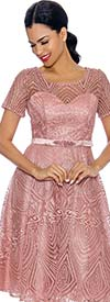 Annabelle 8690-Rose - Short Sleeve Dress With Intricate Lace Design