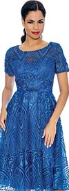 Annabelle 8690-Royal - Short Sleeve Dress With Intricate Lace Design