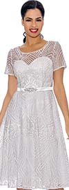 Annabelle 8690-White - Short Sleeve Dress With Intricate Lace Design
