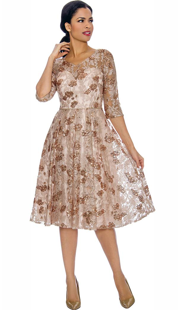 Annabelle 8692 - Half Sleeve Vee Neckline Pleated Dress In Floral Lace Design