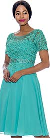 Annabelle 8693-Aqua - Short Sleeve Dress With Floral Lace Applique Bodice