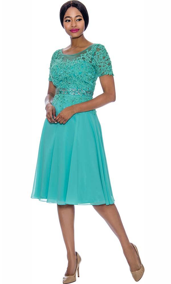 Annabelle 8693-Aqua - Short Sleeve Dress With Floral Lace Applique Bodice