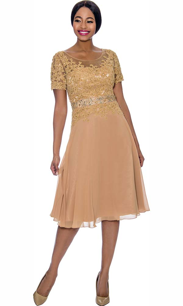 Annabelle 8693-Gold - Short Sleeve Dress With Floral Lace Applique Bodice