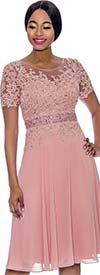 Clearance Annabelle 8693-Rose - Short Sleeve Dress With Floral Lace Applique Bodice
