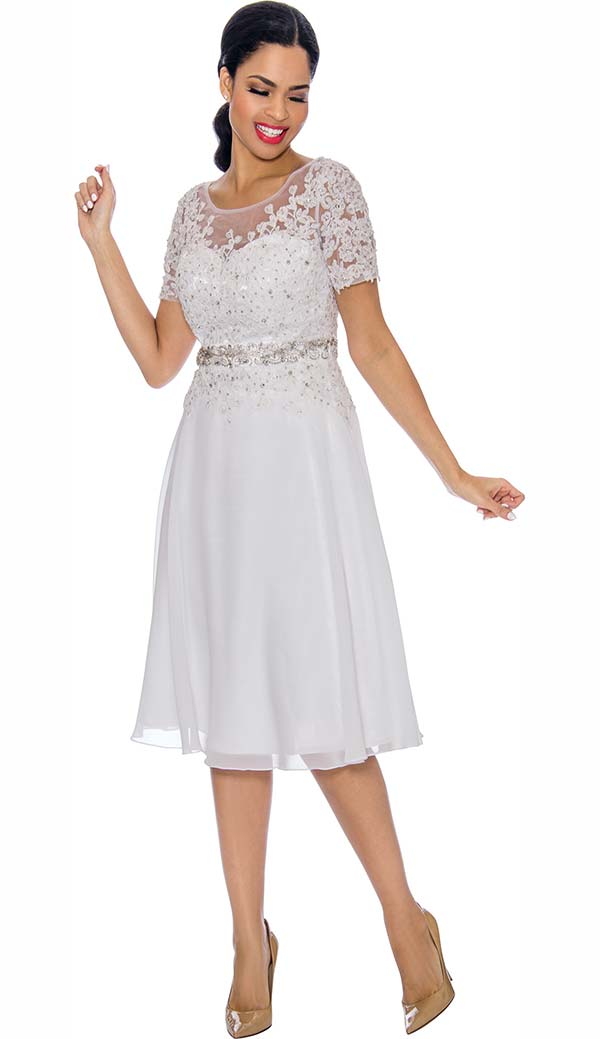 Annabelle 8693-White - Short Sleeve Dress With Floral Lace Applique Bodice