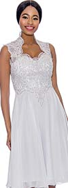 Annabelle 8694-White - Sleeveless Pleated Dress With Lace Queen Anne Neckline Bodice