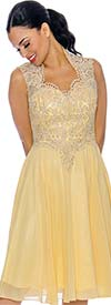 Annabelle 8694-Yellow - Sleeveless Pleated Dress With Lace Queen Anne Neckline Bodice