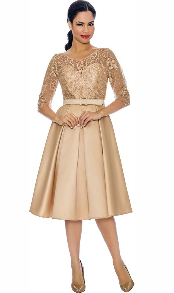 Annabelle 8695-Champagne - Three Quarter Sleeve Pleated Dress With Lacy Bodice