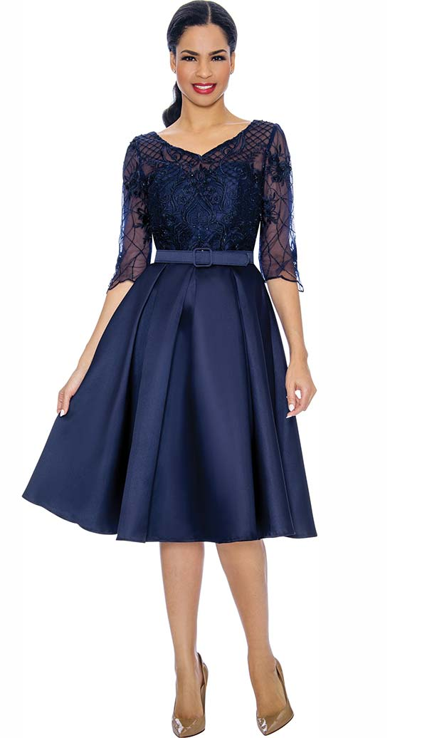 Annabelle 8695-Navy - Three Quarter Sleeve Pleated Dress With Lacy Bodice