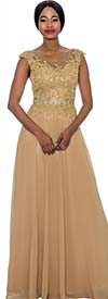 Annabelle 8697-Gold - Cap Sleeve Floor Length Pleated Dress With Lacy Bodice