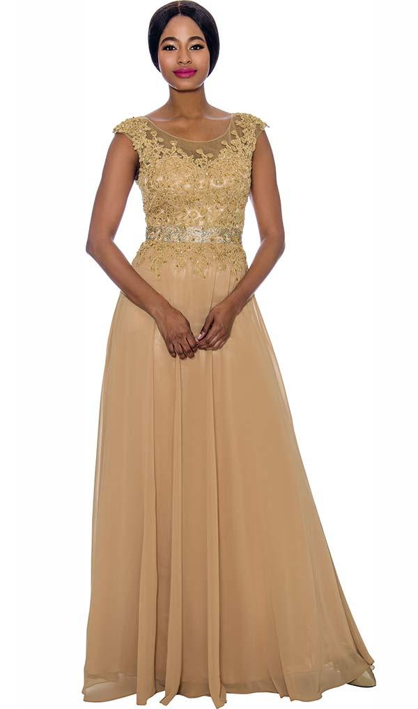 Annabelle 8697-Gold - Cap Sleeve Floor Length Pleated Dress With Lacy Bodice