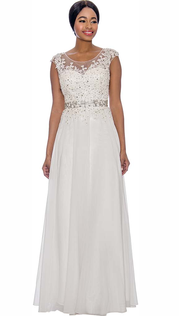 Annabelle 8697-Off White - Cap Sleeve Floor Length Pleated Dress With Lacy Bodice