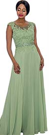 Annabelle 8697-Sage - Cap Sleeve Floor Length Pleated Dress With Lacy Bodice