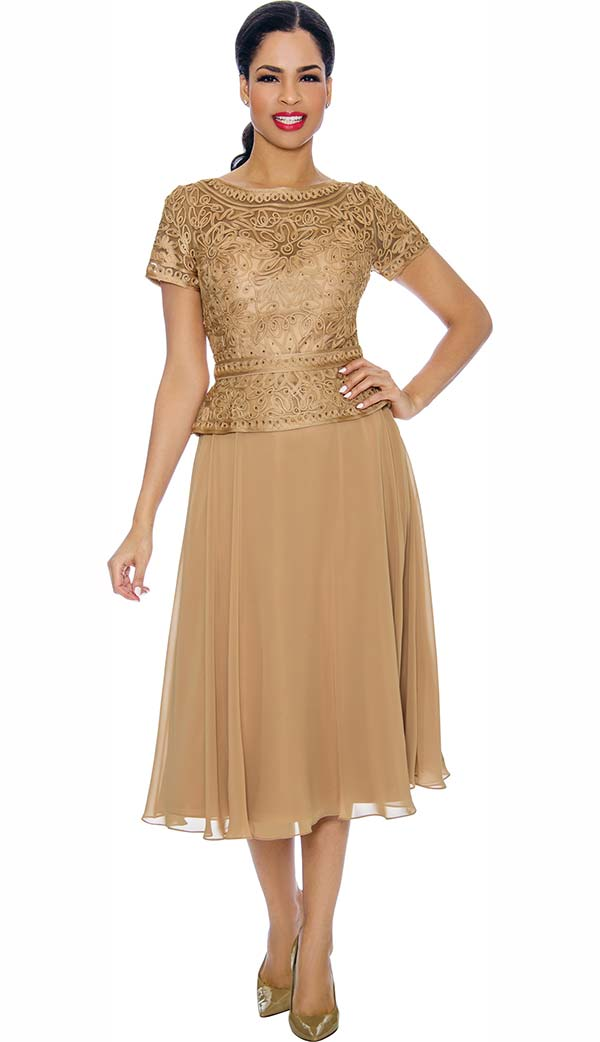 Annabelle 8698-Gold - Short Sleeve Dress With Pleated Mesh Layer & Intricate Lace Bodice