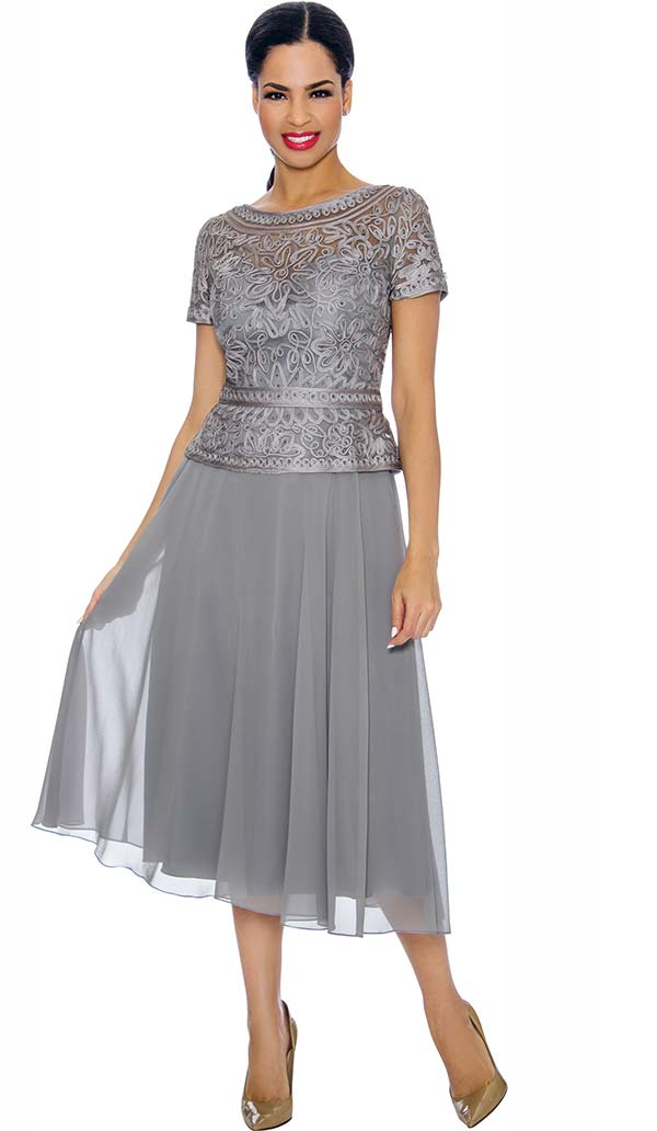 Annabelle 8698-Silver - Short Sleeve Dress With Pleated Mesh Layer & Intricate Lace Bodice