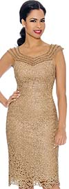 Annabelle 8699-Gold - Sleeveless Lace Dress With Sweatheart Neckline