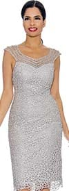 Annabelle 8699-Silver - Sleeveless Lace Dress With Sweatheart Neckline