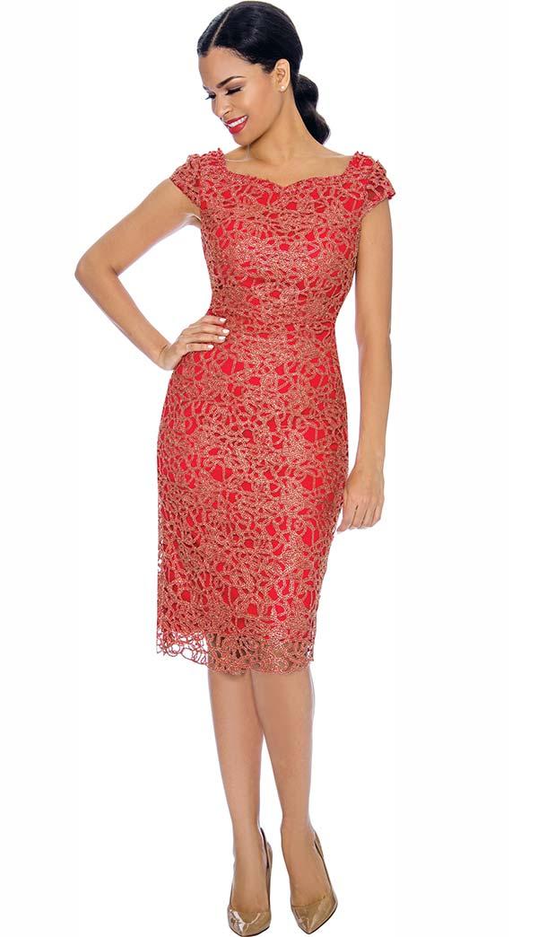 Annabelle 8700-Orange - Cap Sleeve Lace Dress With Sweetheart Neckline