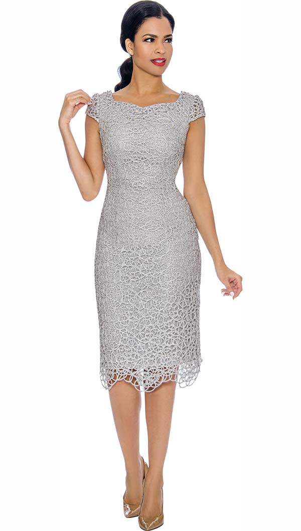 Annabelle 8700-Silver - Cap Sleeve Lace Dress With Sweetheart Neckline