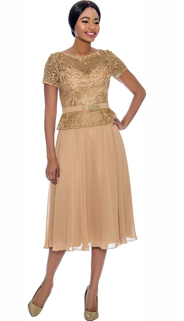 Annabelle 8701-Gold - Short Sleeve Dress With Pleated Mesh Layer & Intricate Lace Bodice