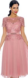 Annabelle 8701-Rose - Short Sleeve Dress With Pleated Mesh Layer & Intricate Lace Bodice