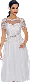 Annabelle 8701-White - Short Sleeve Dress With Pleated Mesh Layer & Intricate Lace Bodice