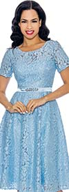 Annabelle 8702-Blue- Short Sleeve Pleated Dress With Floral Lace Design
