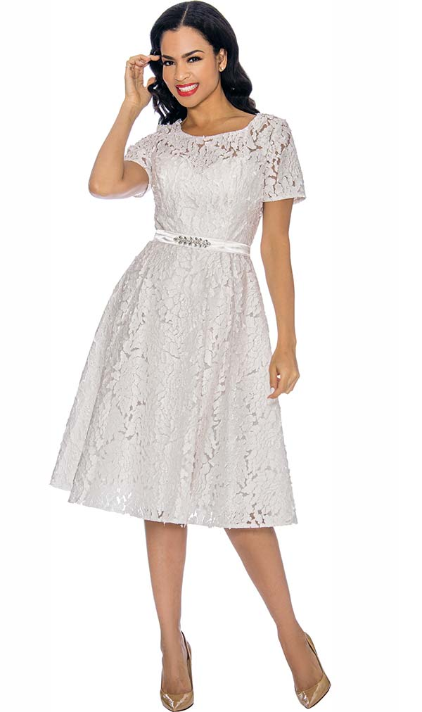 Annabelle 8702-White - Short Sleeve Pleated Dress With Floral Lace Design