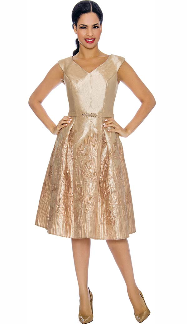 Annabelle 8703 - Cap Sleeve Vee Neckline Pleated Dress In Textured Brocade Design