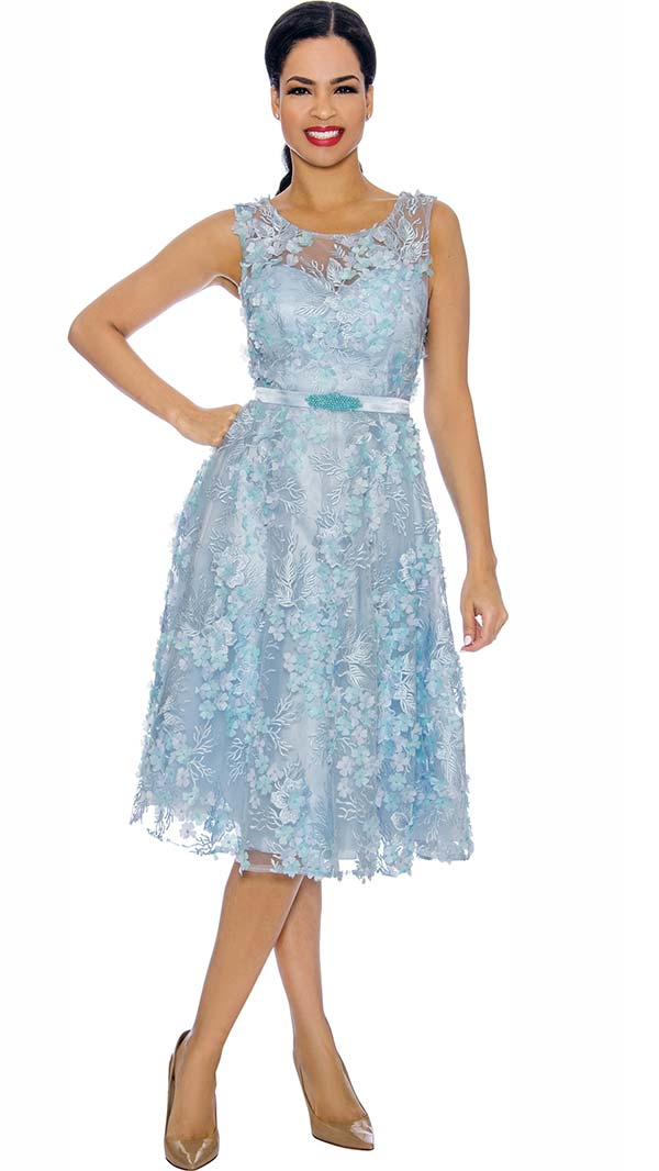 Annabelle 8704-Blue - Sleeveless Dress With Pleated Mesh & Floral Applique Design