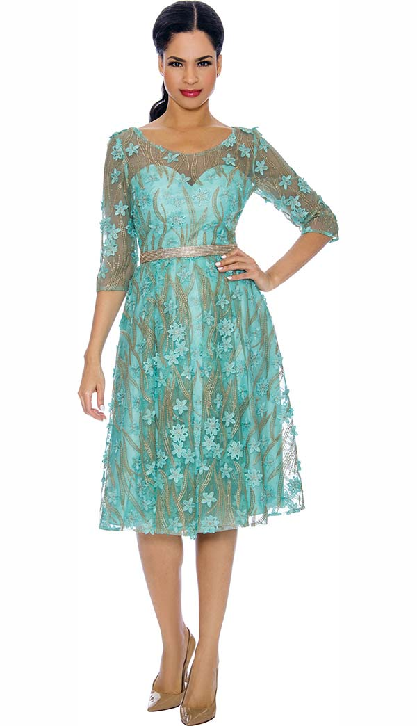 Annabelle 8706-Mint - Three Quarter Sleeve Dress With Pleated Mesh & Floral Applique Design