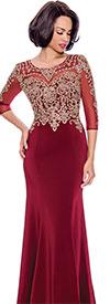 Annabelle 8682-Burgundy - Boat-Neck Floor Length Dress With Elaborate Bodice