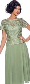 Annabelle 8698 - Short Sleeve Dress With Pleated Mesh Layer & Intricate Lace Bodice