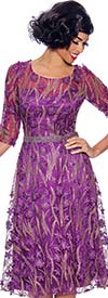 Annabelle 8706-Purple - Three Quarter Sleeve Dress With Pleated Mesh & Floral Applique Design