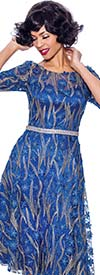 Annabelle 8706-Royal - Three Quarter Sleeve Dress With Pleated Mesh & Floral Applique Design