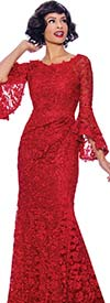 Annabelle 8720-Red - Bell Cuff Sleeve Floor Length Dress With Boat Neckline And Lace Illusion Details