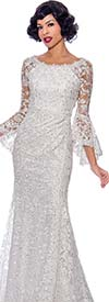 Annabelle 8720-White - Bell Cuff Sleeve Floor Length Dress With Boat Neckline And Lace Illusion Details