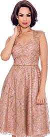 Annabelle 8721-Rose - Sleeveless Dress With Diamond Style Neckline
